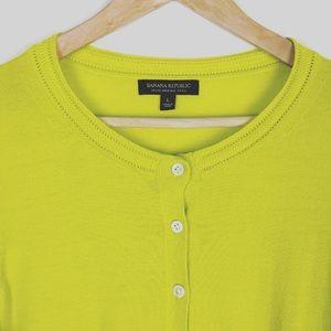 Banana Republic Yellow Merino Wool Cardigan